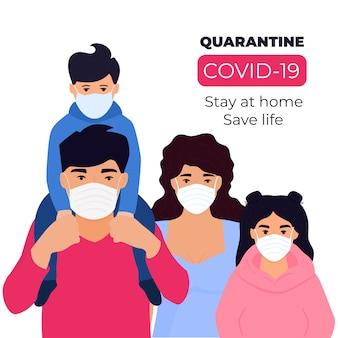 Covid19. corona-epidemie. familie in quarantaine geplaatst. blijf thuis concept. man, vrouw en jongen zitten in beschermende medische gezichtsmaskers.