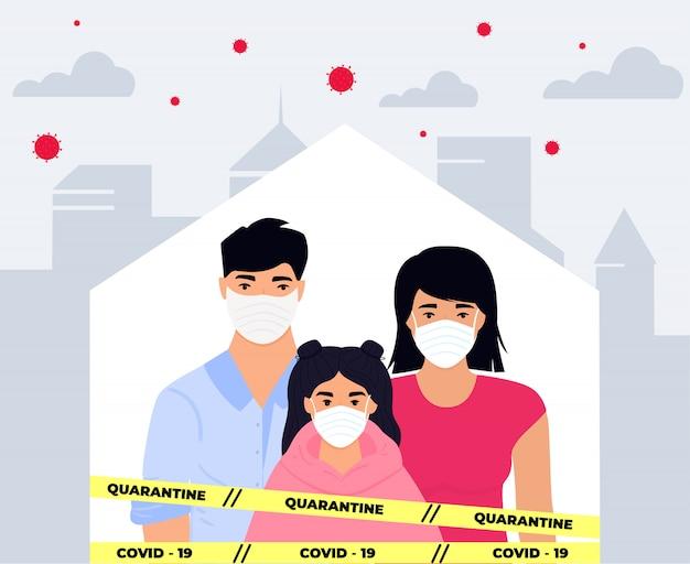 Covid19. corona-epidemie. in quarantaine plaatsen, infectie voorkomen. familie. man, vrouw en meisje zitten in beschermende medische gezichtsmaskers op zelfisolatie in een besmette besmette stad. blijf thuis