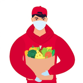 Covid19. corona-epidemie. veilige voedselbezorging. de koerier bracht een beschermend masker mee.