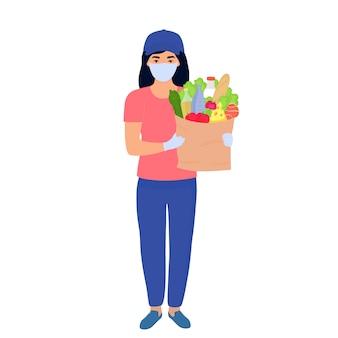 Covid19. corona-epidemie. veilige voedselbezorging. het koeriersmeisje met een beschermend masker levert eten