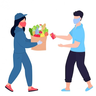Covid19. coronavirus. een bezorgster met een beschermend medisch masker bracht het pakket. een in quarantaine geplaatste man in een appartement haalt een kartonnen doos op bij een koerier. eten bestellen. zelfisolatie.