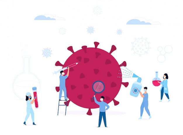 Covid19. coronavirus. kleine medische hulpverleners onderzoeken het enorme virus. vaccin. behandeling. een verpleegster houdt een spuit vast. laborant draagt een reageerbuis. artsen bestrijden infecties