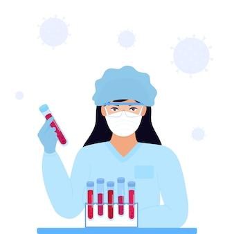 Covid19. coronavirus. medisch onderzoek. zoek naar een vaccin voor het virus. meisje laboratoriumassistent in een beschermend masker en hoed houdt een reageerbuis met een geïnfecteerd bloed