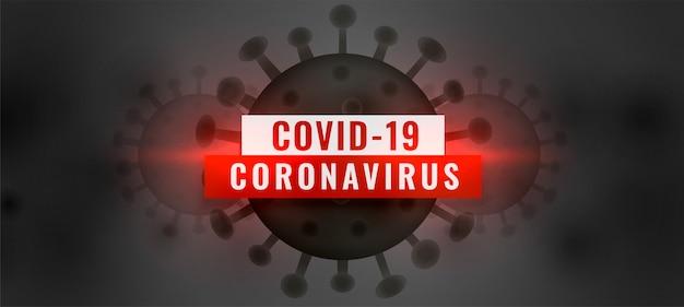 Covid19 coronavirus pandemische uitbraak achtergrond met zwarte viruscel