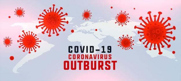 Covid19 coronavirusuitbarstingsachtergrond met zwevende virussen