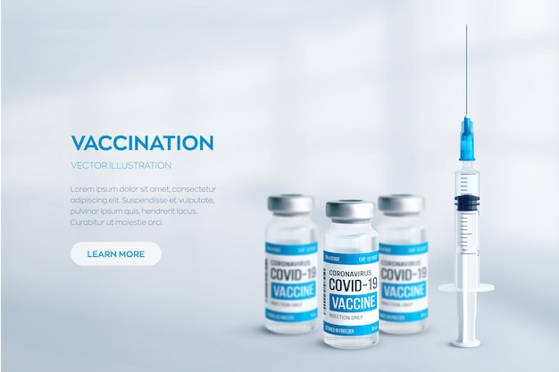 Covid19 coronavirusvaccinconcept realistische medische glazen injectieflacons met metalen doppen en spuit