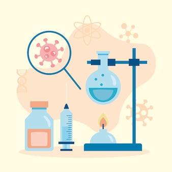 Covid19-deeltje met vergrootglas in laboratoriumvaccinonderzoek