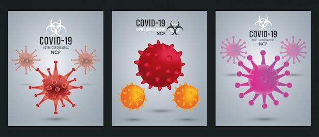 Covid19 deeltjes campagne patronen posters illustratie ontwerp