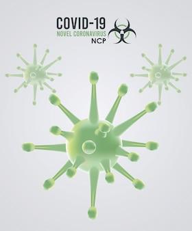 Covid19 deeltjes en belettering campagnepatroon illustratie ontwerp