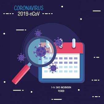 Covid19-deeltjes met vergrootglas en kalender