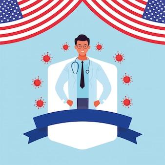 Covid19 pandemische deeltjes met amerikaanse vlag en dokter