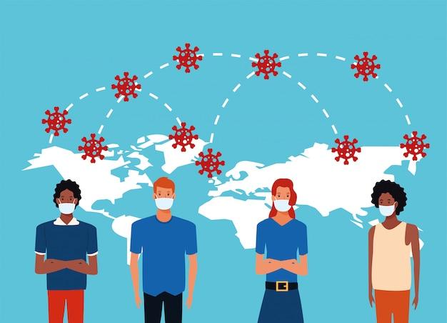 Covid19 pandemische deeltjes met mensen die gezichtsmaskers gebruiken