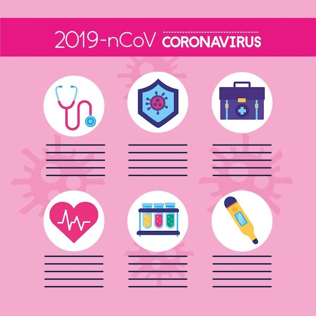 Covid19 pandemische infographics met vastgestelde pictogrammen
