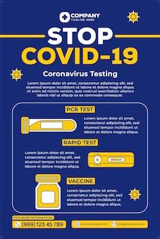 Covid19-poster in platte ontwerpstijl