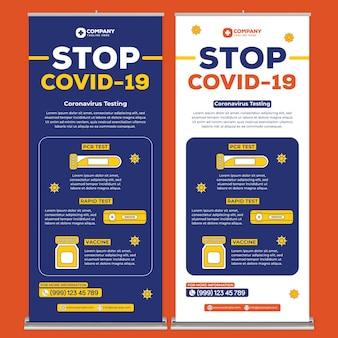 Covid19-posterafdruksjabloon in platte ontwerpstijl