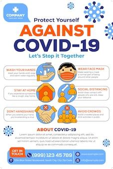 Covid19-postercampagne in platte ontwerpstijl