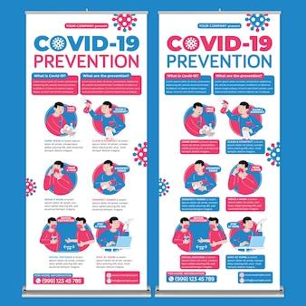 Covid19 preventie roll-up banner afdruksjabloon in platte ontwerpstijl