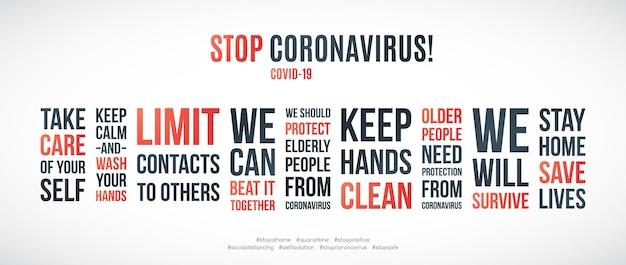Covid19-quotes ingesteld om de verspreiding van het coronavirus te voorkomen