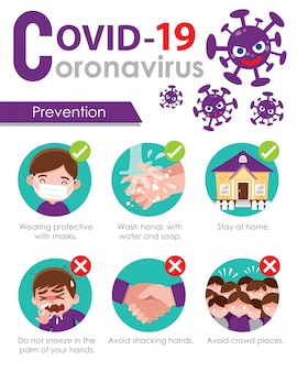 Covid19. tips voor virusbescherming. preventie van vectorillustratie in cartoon-stijl