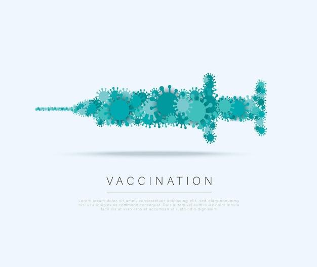 Covid19 vaccin symbool gezondheidszorg en bescherming vaccinatie concept
