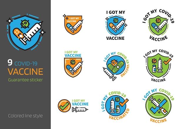Covid19 vaccinatie logo badge ontwerp gekleurde lijnstijl