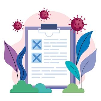 Covid19-virusdeeltjes met checklist in het kamp