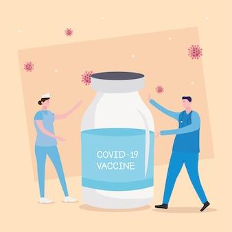 Covid19-virusvaccinflesje met illustratie van arts en verpleegster
