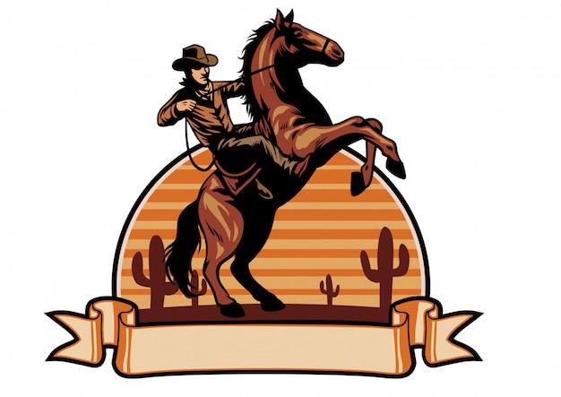 Cowboy berijdt een paard