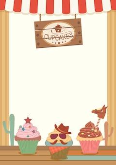 Cowboy cupcakes partij menusjabloon voor verticaal