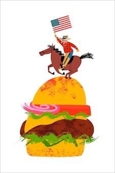 Cowboy die een paard berijdt met een amerikaanse vlag in zijn hand. grote hamburger.