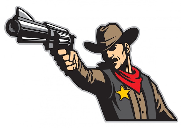 Cowboy die het pistool richt