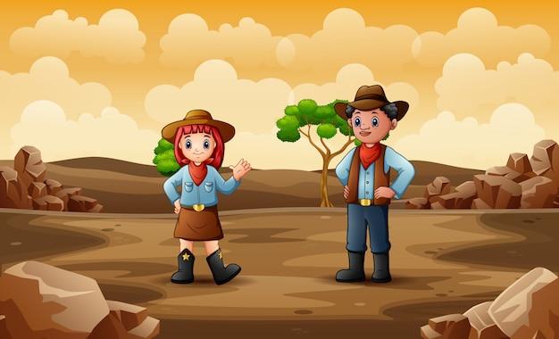 Cowboy en cowgirl in de woestijn
