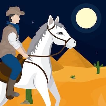 Cowboy en paard