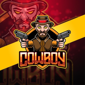 Cowboy esport mascotte logo ontwerp