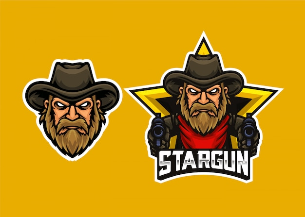 Cowboy head shooter esports-logo sjabloon