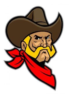 Cowboy hoofd mascotte