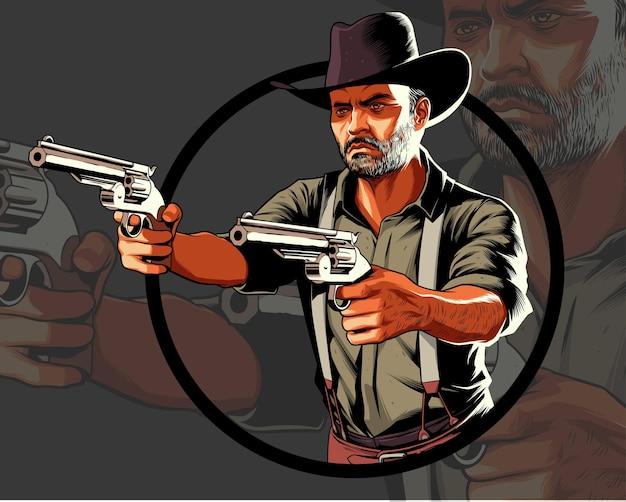 Cowboy in actie die twee pistolen richt