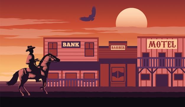 Cowboy komt naar dorp