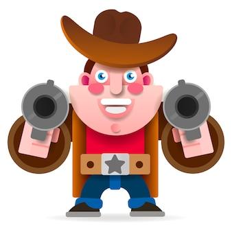 Cowboy met twee kanonnen in een wilde westen-kaap. vector