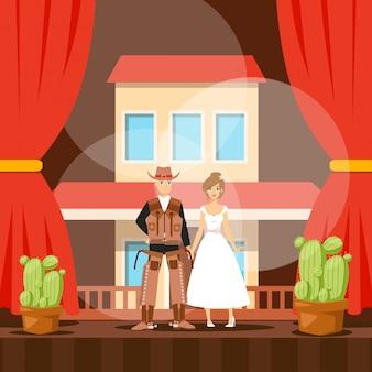 Cowboy op het podium, amerikaanse westerntheatervoorstelling, man en vrouwacteurs