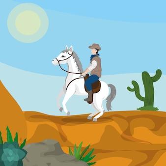 Cowboy op paard in woestijn