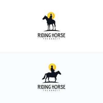 Cowboy paard ruiter silhouet vintage embleem