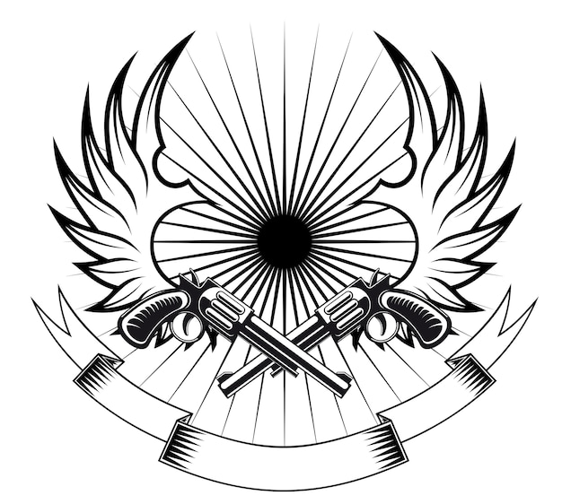 Cowboy revolvers met vleugels en lint voor heraldische of tattoo ontwerp