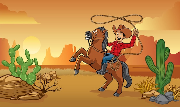 Cowboy rijpaard in de woestijn