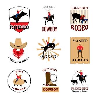 Cowboy-rodeospellen van mustangrijden en stierenvechten