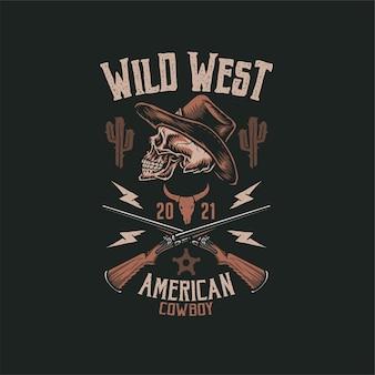 Cowboy schedel t-shirt, hand getrokken lijnstijl met digitale kleur, illustratie