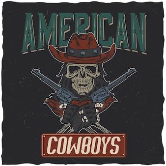 Cowboy-t-shirtontwerp met illustratie van schedel in de hoed met twee kanonnen bij de handen.