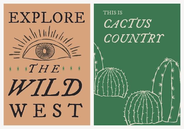 Cowboy thema poster sjabloon vector met bewerkbare tekst set