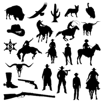 Cowboy ver west-amerika silhouet illustraties vector