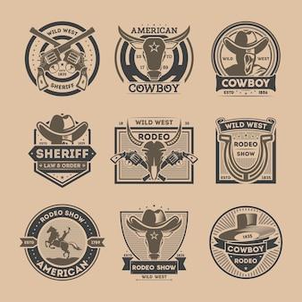 Cowboy vintage geïsoleerde label set